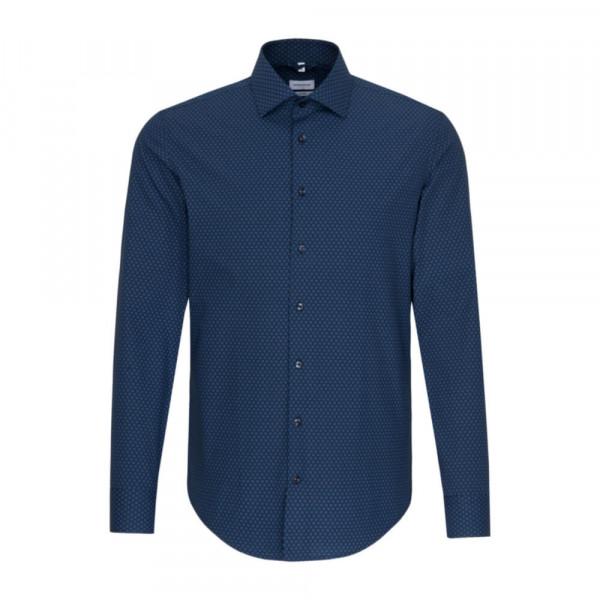 Seidensticker Hemd SHAPED PRINT dunkelblau mit New Kent Kragen in moderner Schnittform