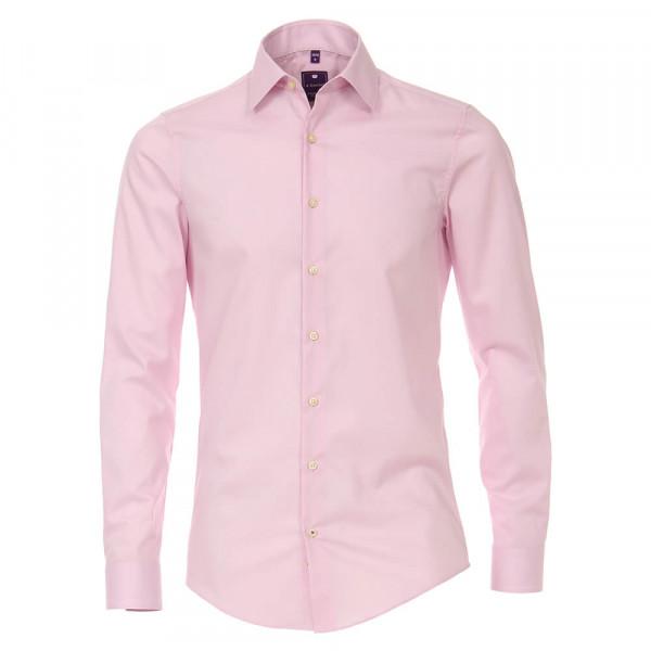 Redmond SLIM FIT Hemd UNI STRETCH rosa mit Kent Kragen in schmaler Schnittform