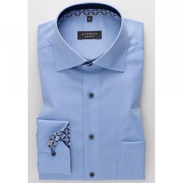 Eterna Hemd COMFORT FIT NATTÉ hellblau mit Classic Kent Kragen in klassischer Schnittform