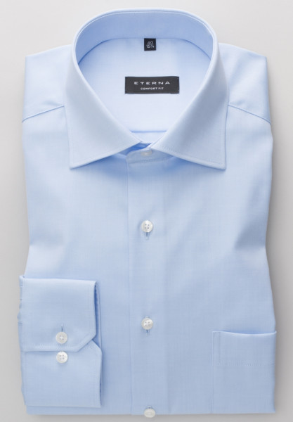 Eterna Hemd COMFORT FIT TWILL hellblau mit Classic Kent Kragen in klassischer Schnittform