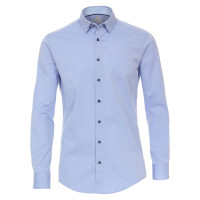 Redmond Hemd MODERN FIT UNI STRETCH hellblau mit Button Down Kragen in moderner Schnittform