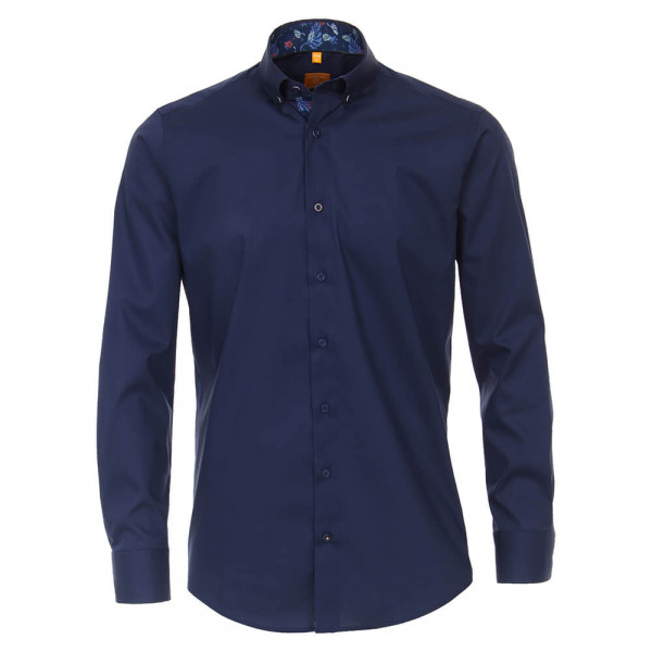 Redmond MODERN FIT Hemd UNI POPELINE dunkelblau mit Button Down Kragen in moderner Schnittform