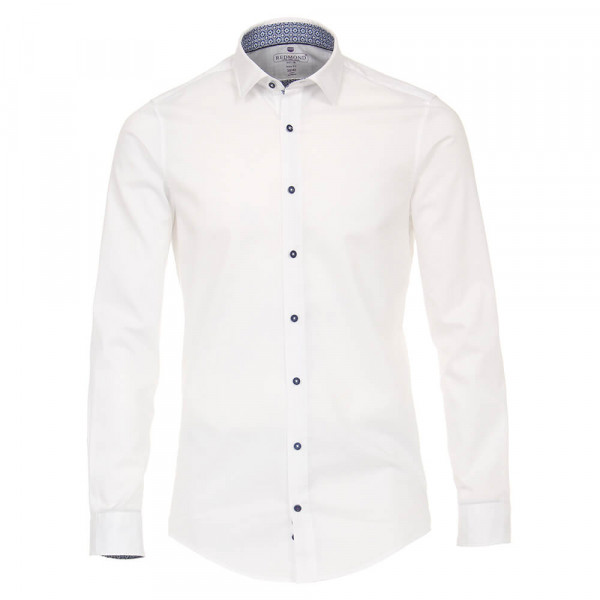 Redmond SLIM FIT Hemd UNI POPELINE weiss mit Kent Kragen in schmaler Schnittform