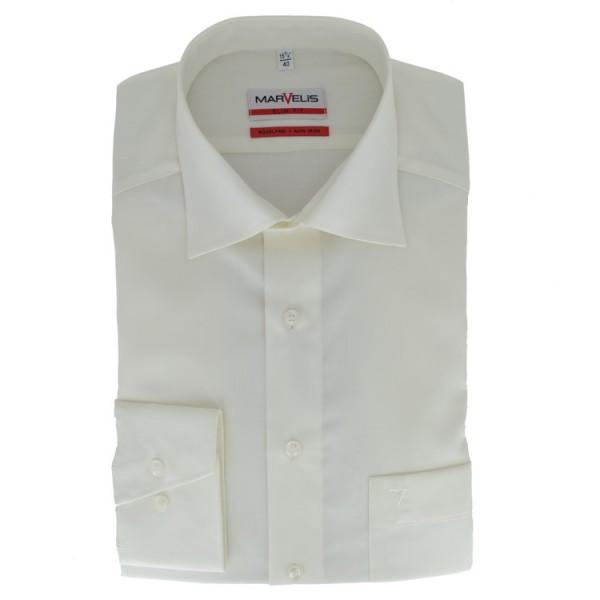 Marvelis MODERN FIT Hemd UNI POPELINE beige mit New Kent Kragen in moderner Schnittform