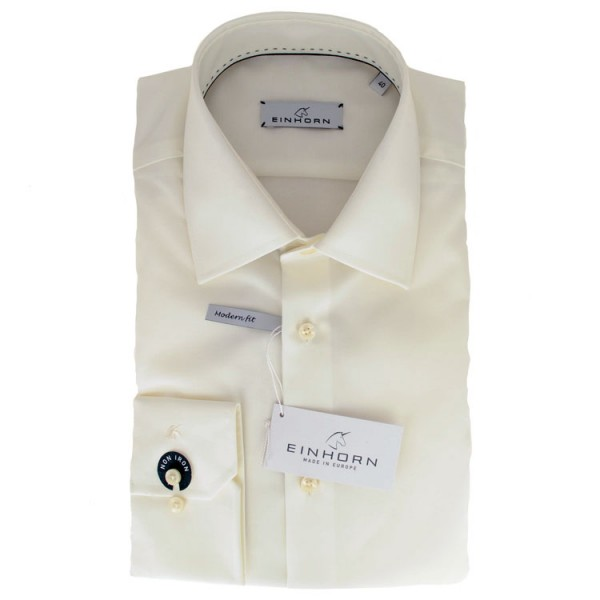 """Einhorn Hemd """"Jamie Slim"""" beige mit Kent Kragen in moderner Schnitform"""