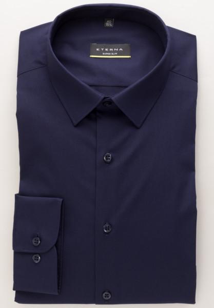 Eterna Hemd SUPER SLIM UNI STRETCH dunkelblau mit Mini Kent Kragen in super schmaler Schnittform