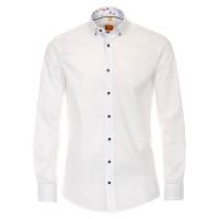 Redmond MODERN FIT Hemd UNI POPELINE weiss mit Button Down Kragen in moderner Schnittform