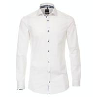 Venti Hemd BODY FIT TWILL weiss mit Kent Kragen in schmaler Schnittform