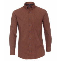 Redmond Hemd REGULAR FIT UNI POPELINE orange mit Button Down Kragen in klassischer Schnittform