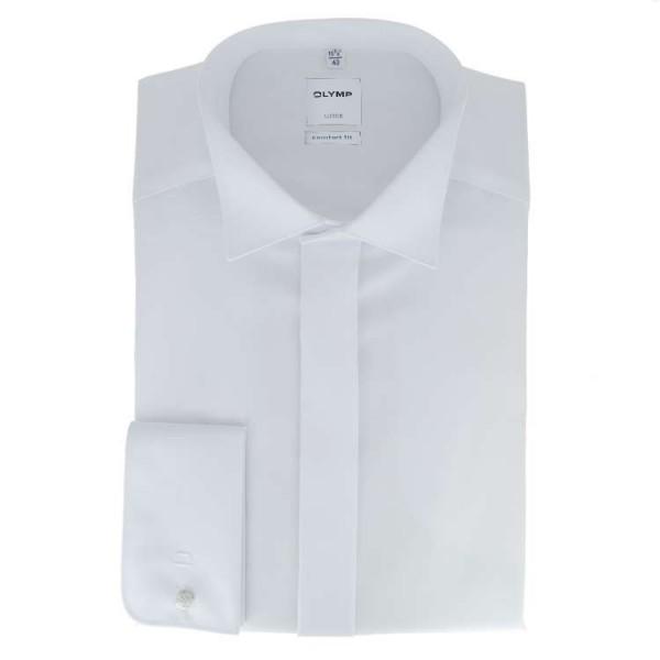 OLYMP Luxor soirée comfort fit Hemd UNI POPELINE weiss mit Kläppchen Kragen in klassischer Schnittfo
