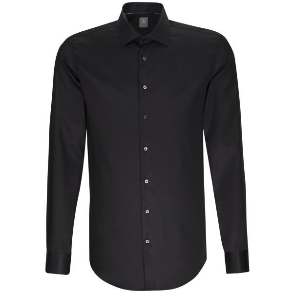 Jacques Britt SLIM FIT Hemd SATIN schwarz mit Kent Kragen in schmaler Schnittform
