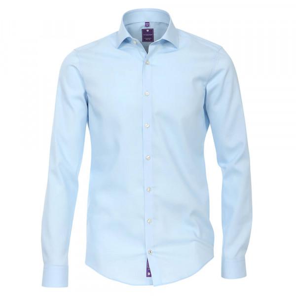 Redmond SLIM FIT Hemd UNI STRETCH hellblau mit Kent Kragen in schmaler Schnittform