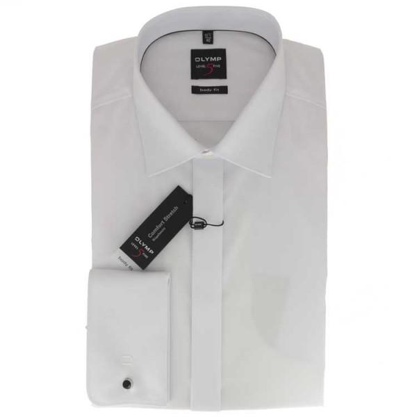 OLYMP Level Five soirée body fit Hemd UNI POPELINE weiss mit New York Kent Kragen in schmaler Schnit