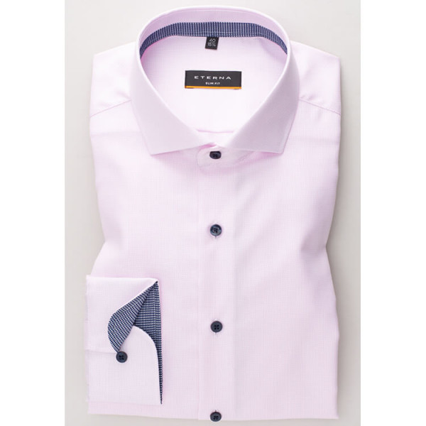Eterna Hemd SLIM FIT TWILL STRUKTUR rosa mit Hai Kragen in schmaler Schnittform
