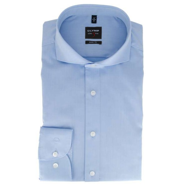OLYMP Level Five body fit Hemd TWILL hellblau mit Hai Kragen in schmaler Schnittform