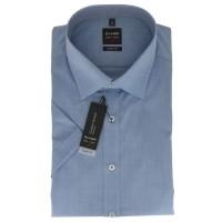 OLYMP Level Five body fit Hemd UNI POPELINE mittelblau mit New York Kent Kragen in schmaler Schnittf