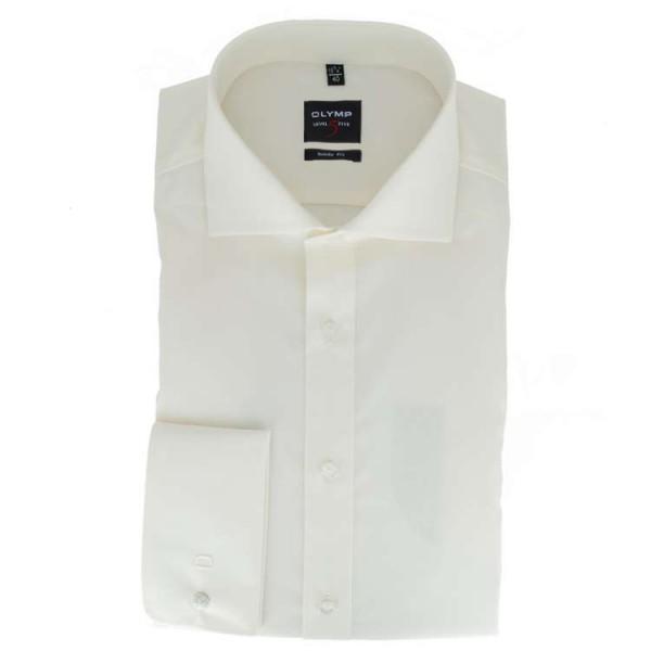 OLYMP Level Five body fit Hemd UNI POPELINE beige mit Hai Kragen in schmaler Schnittform