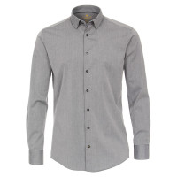 Redmond Hemd MODERN FIT UNI STRETCH grau mit Button Down Kragen in moderner Schnittform