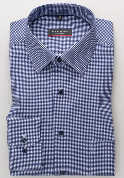 Eterna Hemd MODERN FIT TWILL KARO dunkelblau mit Modern Kent Kragen in moderner Schnittform