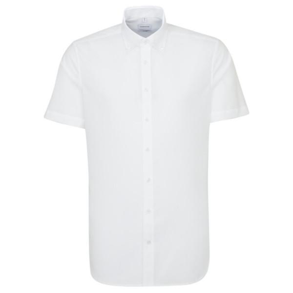 Seidensticker SHAPED Hemd UNI POPELINE weiss mit Button Down Kragen in moderner Schnittform