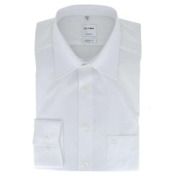 OLYMP Luxor modern fit Hemd UNI POPELINE weiss mit Kent Kragen in moderner Schnittform