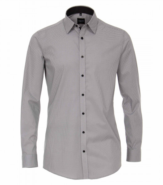 Venti Hemd BODY FIT PRINT schwarz mit Kent Kragen in schmaler Schnittform