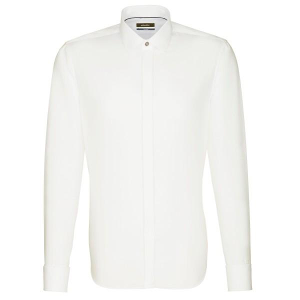 Seidensticker SHAPED Hemd UNI POPELINE beige mit Business Kent Party Kragen in moderner Schnittform