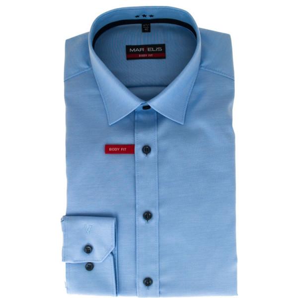 Marvelis Hemd BODY FIT TWILL hellblau mit New York Kent Kragen in schmaler Schnittform