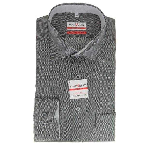 Marvelis MODERN FIT Hemd STRUKTUR schwarz mit New Kent Kragen in moderner Schnittform