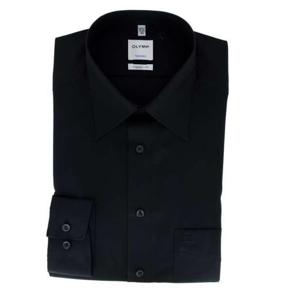 OLYMP Luxor modern fit Hemd UNI POPELINE schwarz mit Kent Kragen in moderner Schnittform
