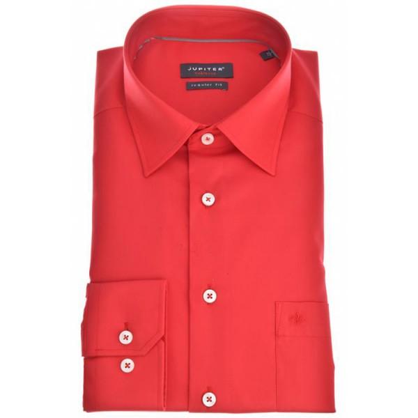 "Jupiter Hemd ""Popeline"" rot mit Kent Kragen in klassischer Schnittform"