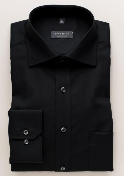 Eterna Hemd COMFORT FIT UNI POPELINE schwarz mit Classic Kent Kragen in klassischer Schnittform
