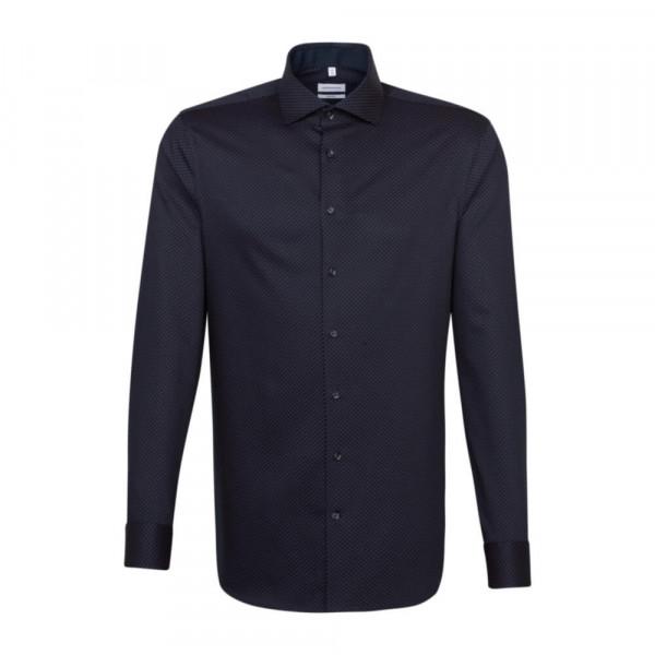 Seidensticker Hemd SHAPED PRINT dunkelblau mit Spread Kent Kragen in moderner Schnittform