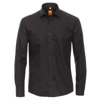 Redmond MODERN FIT Hemd UNI POPELINE schwarz mit Kent Kragen in moderner Schnittform