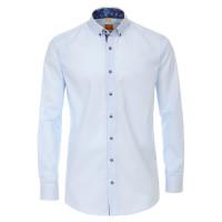 Redmond MODERN FIT Hemd UNI POPELINE hellblau mit Button Down Kragen in moderner Schnittform