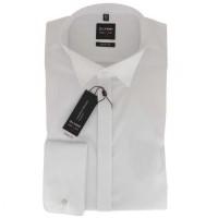 OLYMP Level Five soirée body fit Hemd UNI POPELINE weiss mit Kläppchen Kragen in schmaler Schnittfor