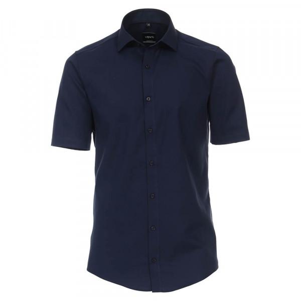 Venti Hemd MODERN FIT STRUKTUR dunkelblau mit Kent Kragen in moderner Schnittform