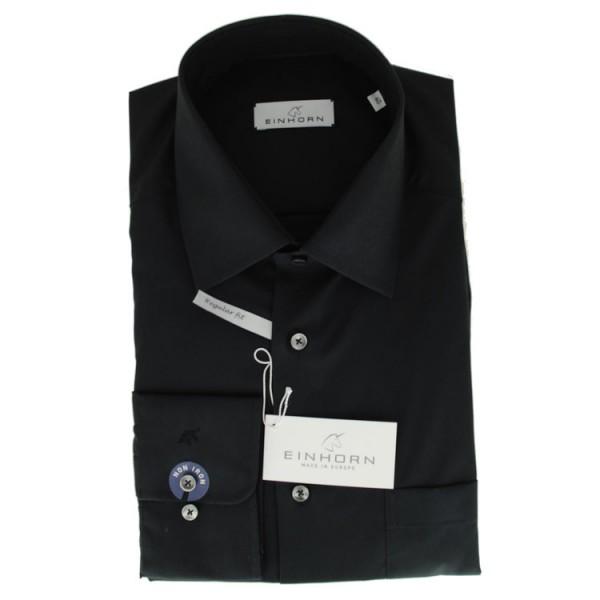 """Einhorn Hemd """"Derby"""" schwarz mit Kent Kragen in klassischer Schnittform"""