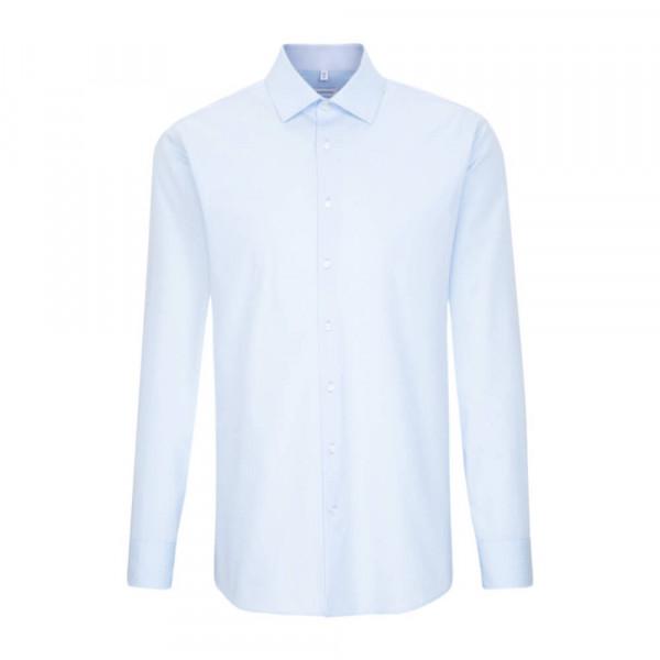 Seidensticker Hemd SHAPED PRINT hellblau mit Business Kent Kragen in moderner Schnittform