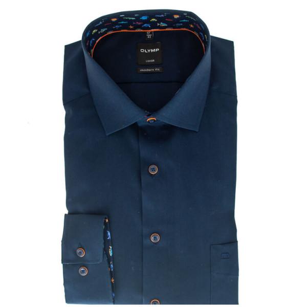 OLYMP Level Five body fit Hemd UNI POPELINE dunkelblau mit Global Kent Kragen in schmaler Schnittfor