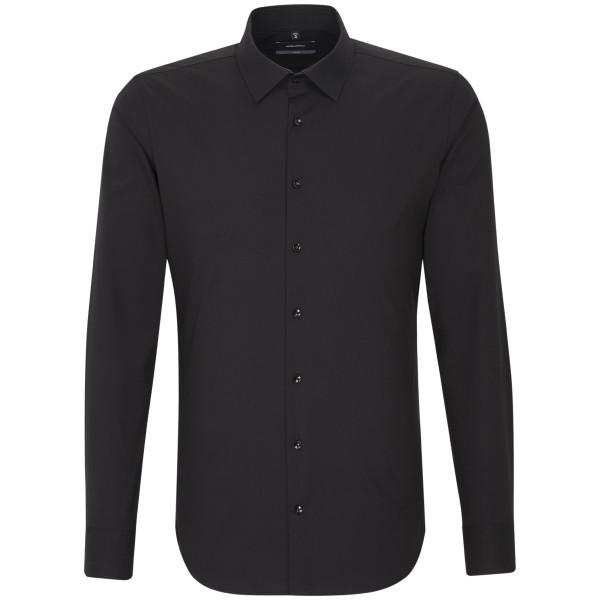 Seidensticker X-SLIM Hemd UNI POPELINE schwarz mit Business Kent Kragen in super schmaler Schnittfor
