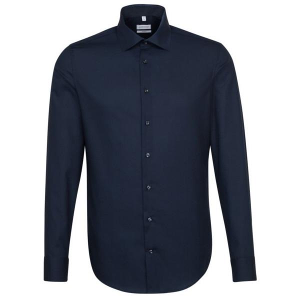 Seidensticker SHAPED Hemd UNI POPELINE dunkelblau mit Business Kent Kragen in moderner Schnittform