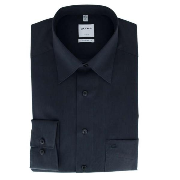 OLYMP Luxor comfort fit Hemd FIL Á FIL schwarz mit New Kent Kragen in klassischer Schnittform