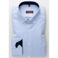 Eterna Hemd MODERN FIT TWILL KARO hellblau mit Button Down Kragen in moderner Schnittform